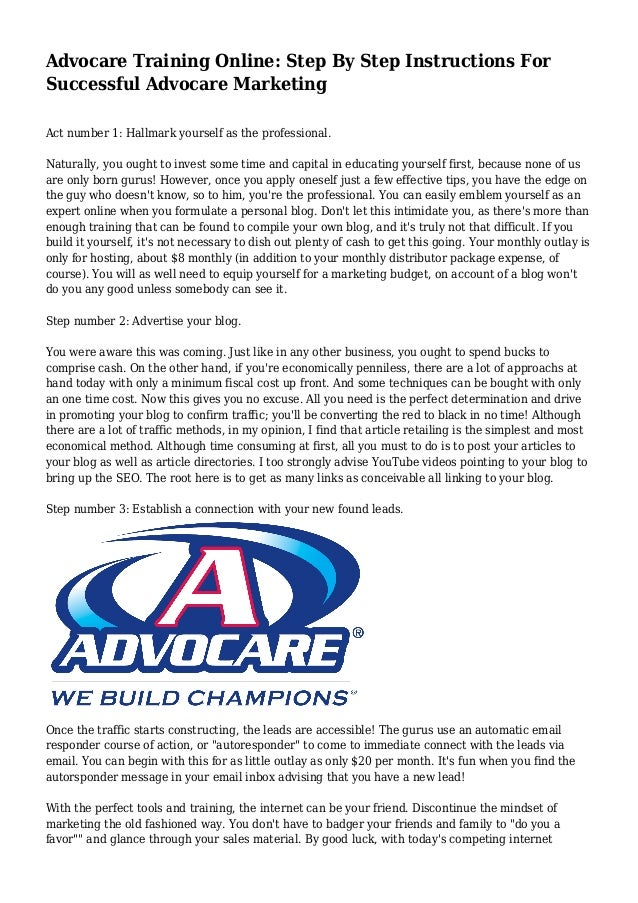 Advocare Training Online Step By Step Instructions For Successful A