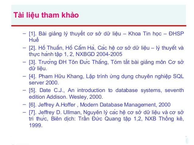 Tài liệu tham khảo – [1]. Bài giảng lý thuyết cơ sở dữ liệu – Khoa Tin học – ĐHSP Huế – [2]. Hồ Thuần, Hồ Cẩm Hà, Cá...