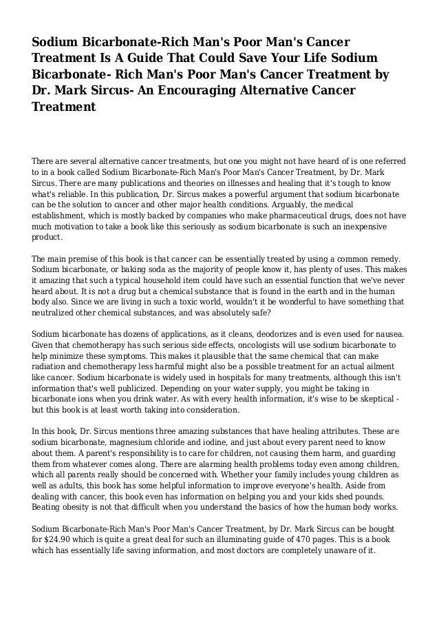 Sodium Bicarbonate Rich Mans Poor Mans Cancer Treatment Pdf