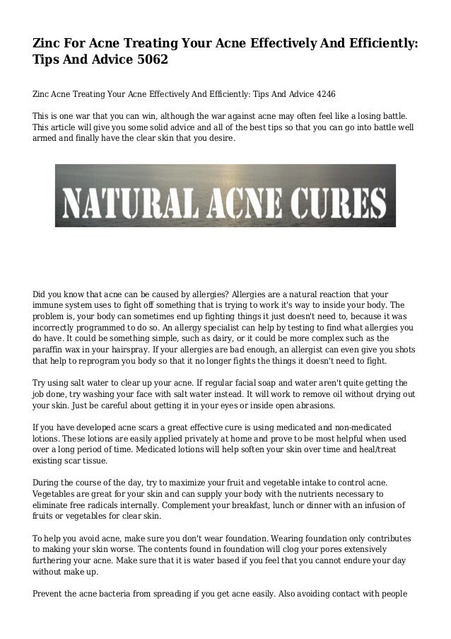 Zinc and Acne: Does Zinc Help With Acne?