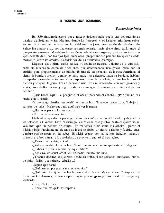 5º Básico Semestre I EL PEQUEÑO VIGÍA LOMBARDO EdmundodeAmicis En 1859, durante la guerra por el rescate de Lombardía, poc...