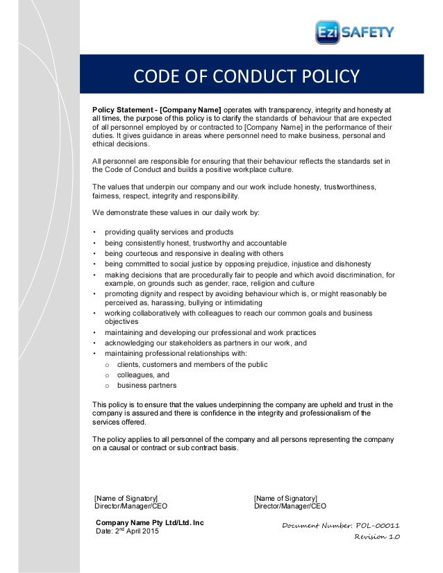 company code of ethics template - code of conduct policy and procedure