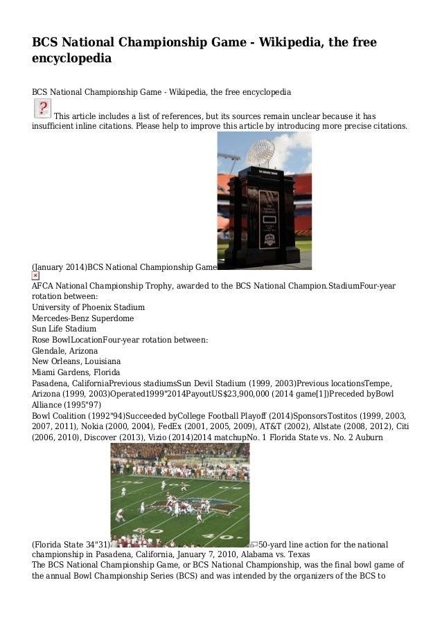 BCS National Championship Game - Wikipedia, the free encyclopedia BCS National Championship Game - Wikipedia, the free enc...