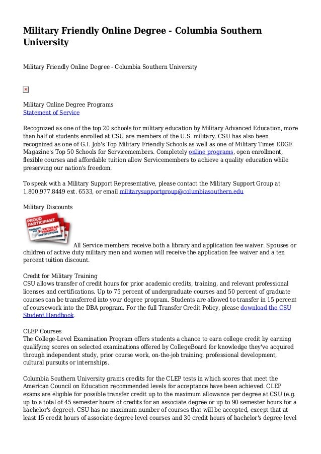 Military Friendly Online Degree Columbia Southern University