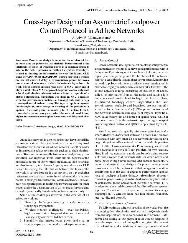 Regular Paper ACEEE Int. J. on Information Technology , Vol. 3, No. 3, Sept 2013  Cross-layer Design of an Asymmetric Load...
