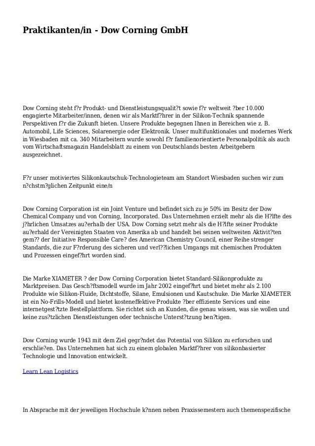 Praktikanten/in - Dow Corning GmbH Dow Corning steht f?r Produkt- und Dienstleistungsqualit?t sowie f?r weltweit ?ber 10.0...