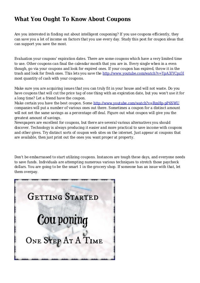 What You Ought To Know About Coupons Are you interested in finding out about intelligent couponing? If you use coupons eff...
