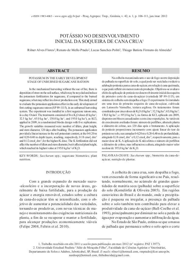 e-ISSN 1983-4063 - www.agro.ufg.br/pat - Pesq. Agropec. Trop., Goiânia, v. 42, n. 1, p. 106-111, jan./mar. 2012           ...