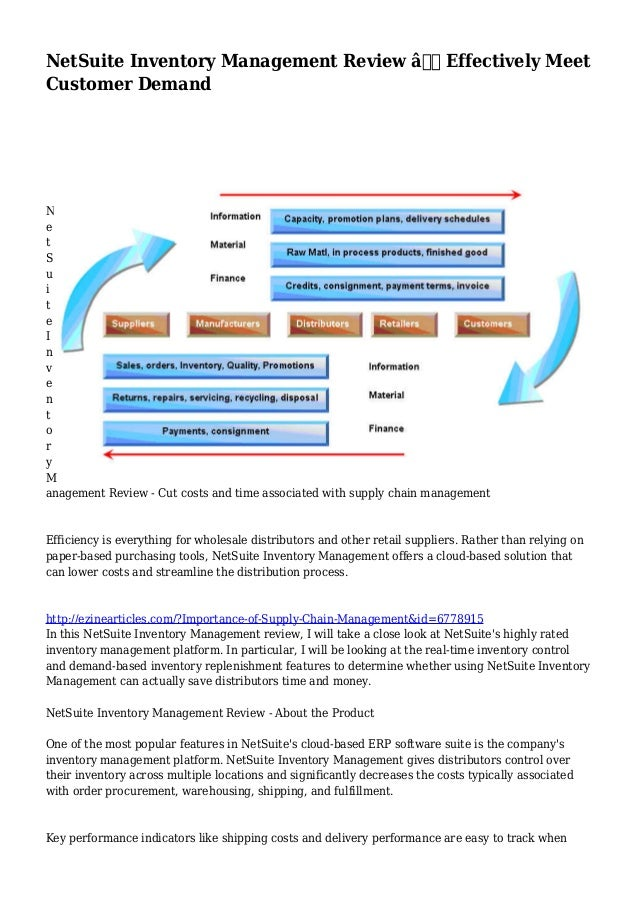 NetSuite Inventory Management Review – Effectively Meet Customer Demand N e t S u i t e I n v e n t o r y M anagement Re...