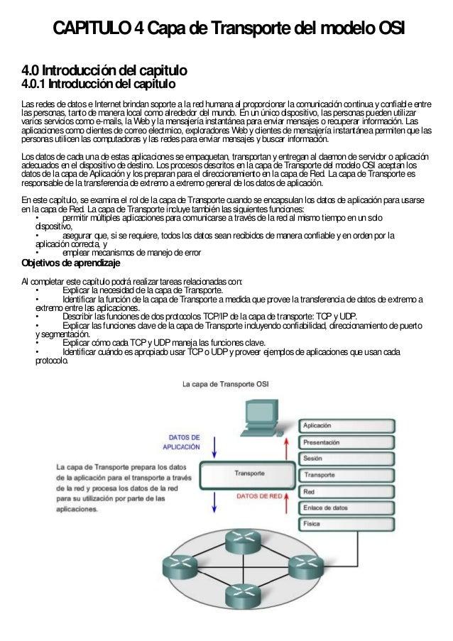 CAPITULO 4 Capa de Transporte del modelo OSI4.0 Introducción del capitulo4.0.1 Introducción del capituloLas redes de datos...