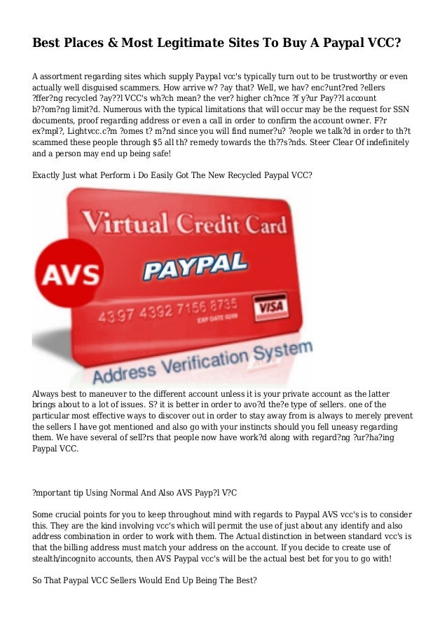 Best Places & Most Legitimate Sites To Buy A Paypal VCC? A assortment regarding sites which supply Paypal vcc's typically ...