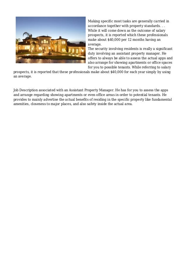 2 - Assistant Property Manager Job Description