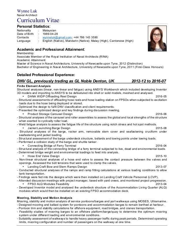naval architect resume