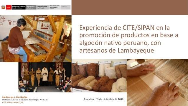 Experiencia de CITE/SIPAN en la promoción de productos en base a algodón nativo peruano, con artesanos de Lambayeque Ing. ...