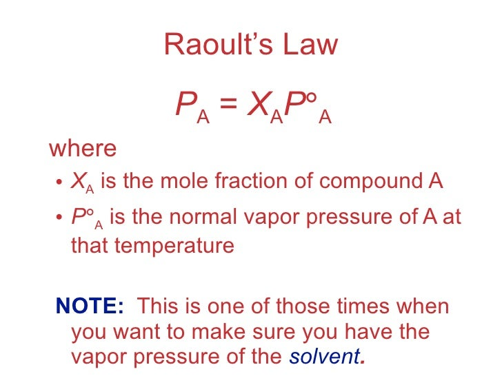 Raoult Law And Colligative Properties