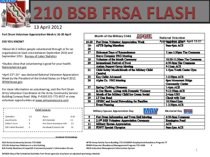 210 BSB FRSA FLASH                               13 April 2012Fort Drum Volunteer Appreciation Week is 16-20 April        ...