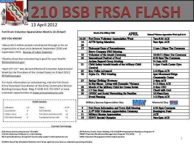 210 BSB FRSA FLASH 13 April 2012 Common Terminology ACS=Army Community Service 772-6566 AFTB=Army Family Team Building 772...