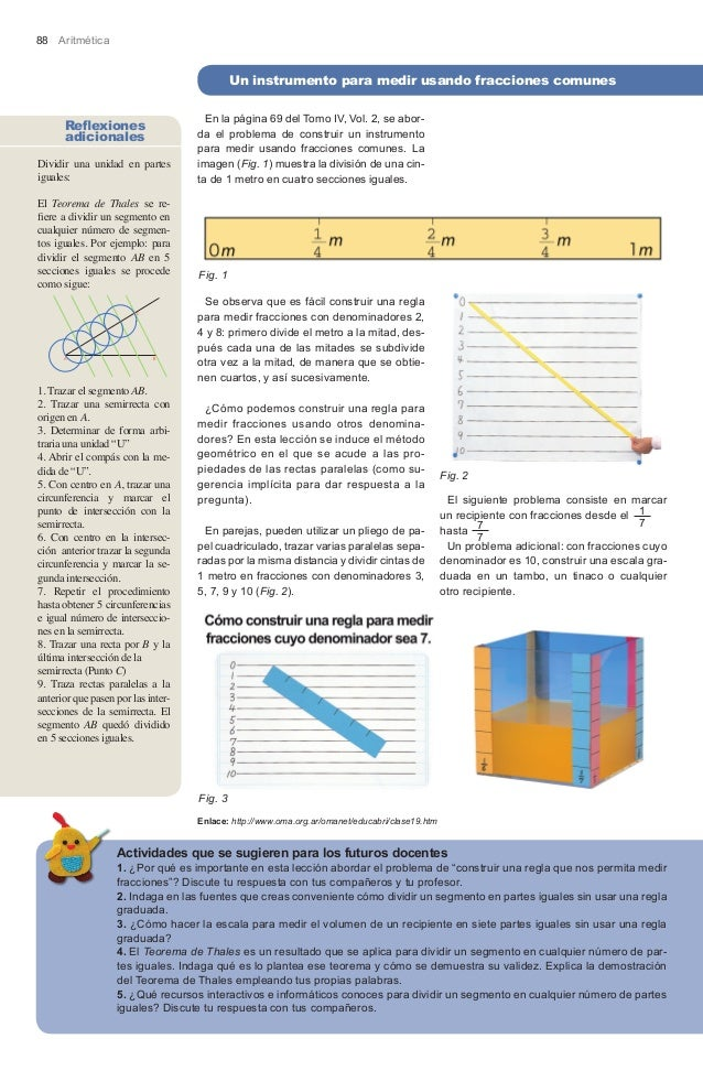 88 Aritmética                                             Un instrumento para medir usando fracciones comunes             ...