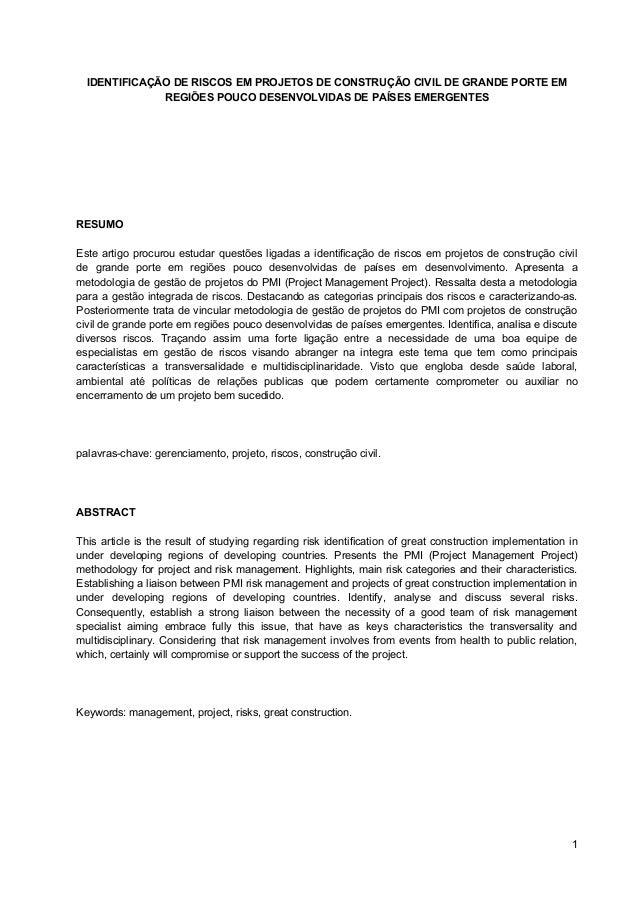 1 IDENTIFICAÇÃO DE RISCOS EM PROJETOS DE CONSTRUÇÃO CIVIL DE GRANDE PORTE EM REGIÕES POUCO DESENVOLVIDAS DE PAÍSES EMERGEN...