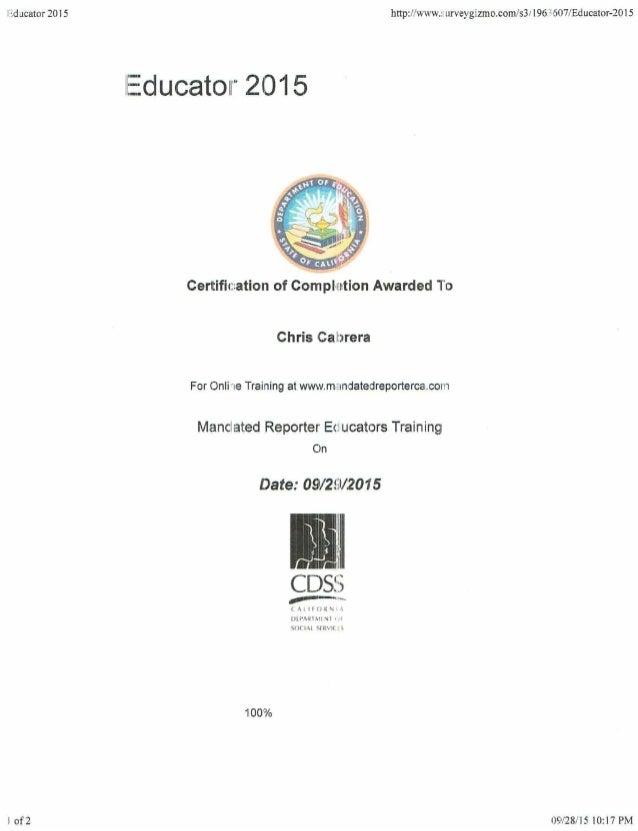Mandated Reporter Educators Certificate
