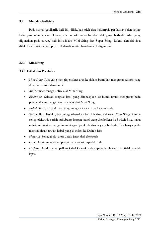 Metoda Geolistrik | 238Fajar N.Jodi C.Rafi A.Yuny F – TG2009Kuliah Lapangan Karangsambung 20123.4 Metoda GeolistrikPada su...