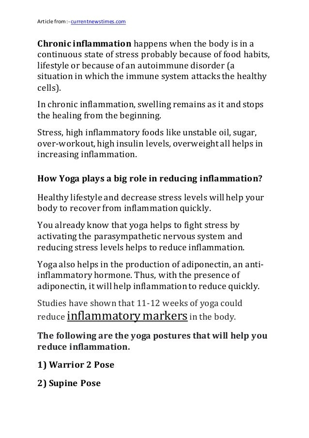 Article from:- currentnewstimes.com Chronic inflammation happens when the body is in a continuous state of stress probably...