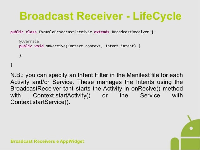 Android App Development - 13 Broadcast receivers and app widgets