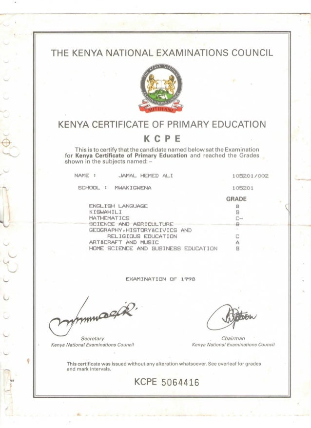Kcpe certificate the kenya national examinations council kenya certificate of primary education k c pe this is to certify yelopaper Gallery