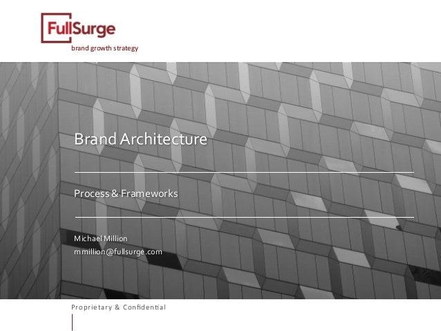 Proprietary & Confiden0al brandgrowthstrategy BrandArchitecture   Process&Frameworks   MichaelMillion mmilli...