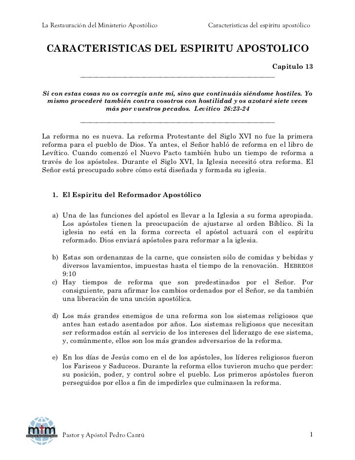 La Restauración del Ministerio Apostólico            Características del espíritu apostólico CARACTERISTICAS DEL ESPIRITU ...