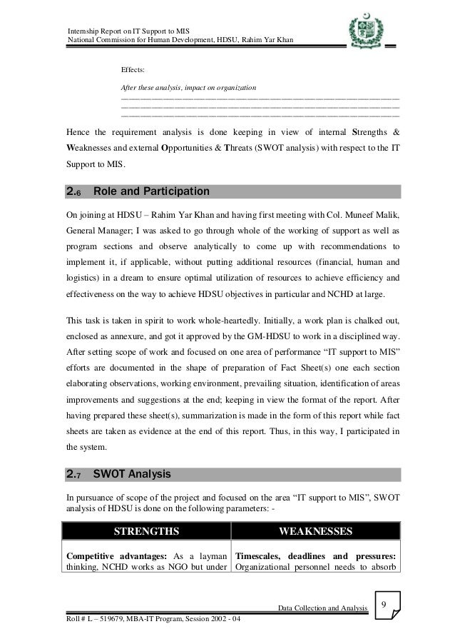 internship report as a it support A number of organizations and individuals assisted by providing information that  was instrumental in the preparation of this report this support was offered.
