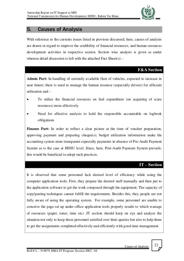 Internship Report on IT support to MIS at NCHD