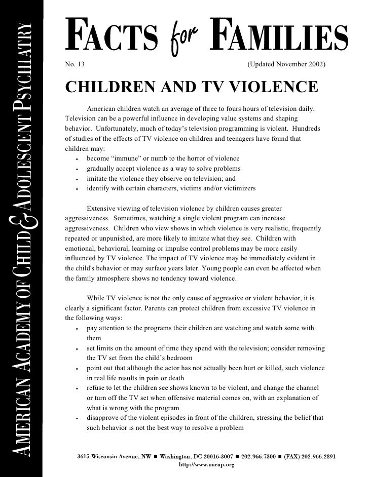 an introduction to children and violence in america Introduction of exposure to violence on children can negatively impact their cognitive development as well as their emotional and physical health.