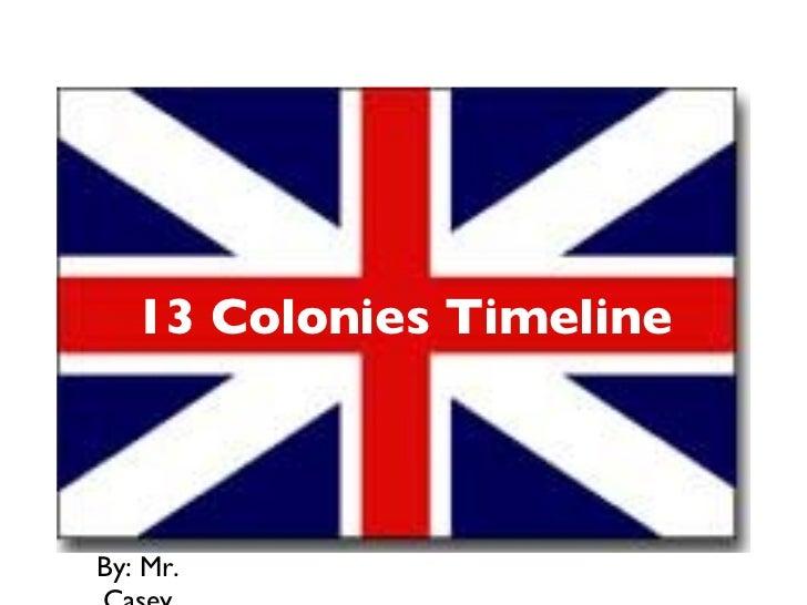 13 Colonies Timeline <ul><li>By: Mr. Casey </li></ul>