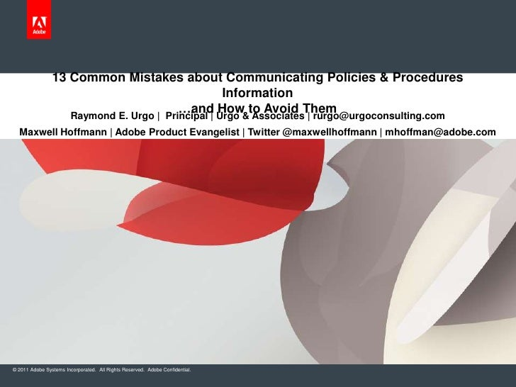 13 Common Mistakes about Communicating Policies & Procedures                                        Information           ...