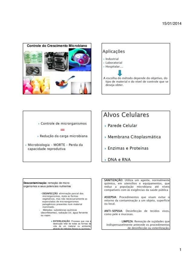 15/01/2014  Controle do Crescimento Microbiano  Descontaminação: remoção de microorganismos e seus potenciais nutrientes  ...