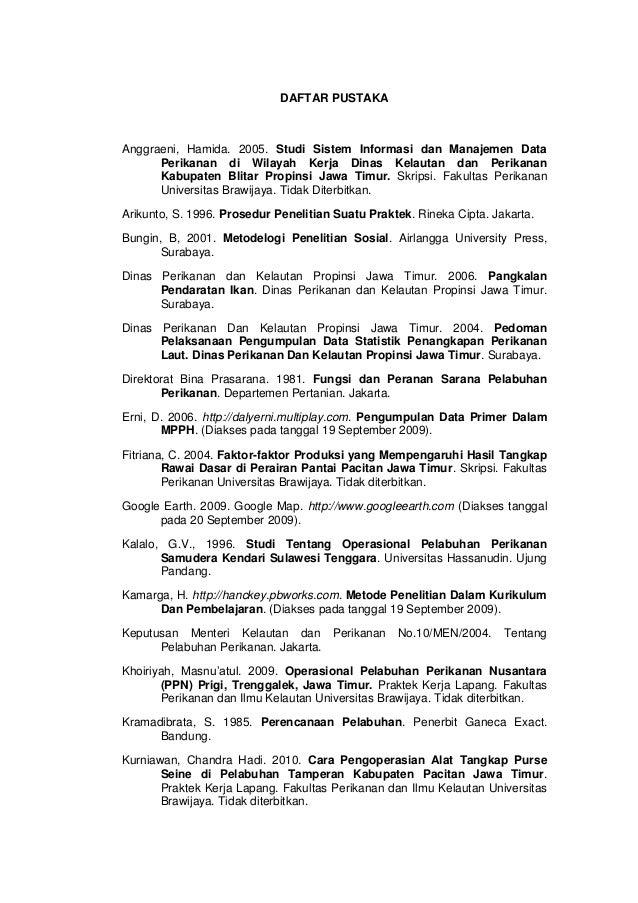 Daftar Pustaka Manajemen Operasional Pelabuhan Perikanan Pantai Ppp