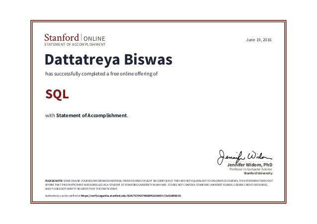 stanford sql certification