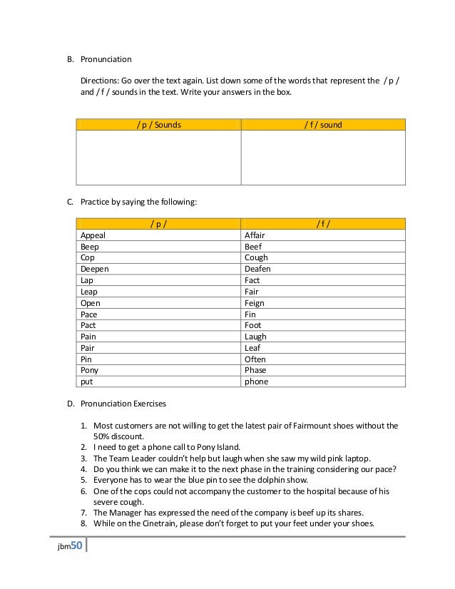 B. Pronunciation    Directions: Go over the text again. List down some of the words that represent the / p /    and / f / ...