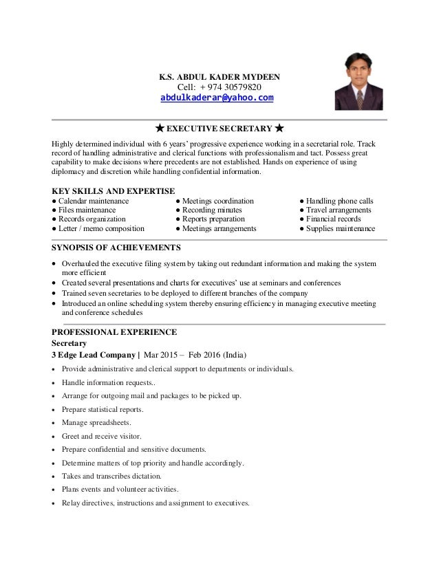abdul kader mydeen resume of executive secretary