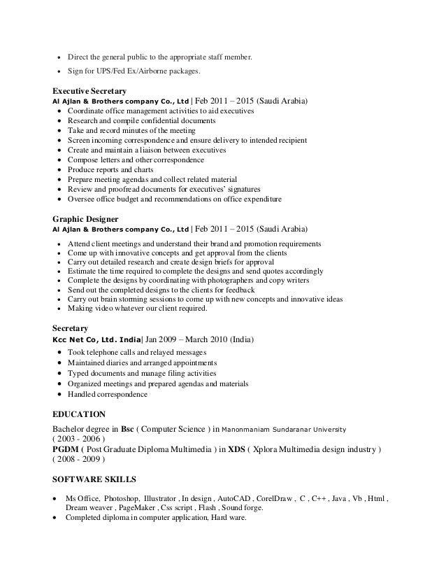 Abdul Kader Mydeen Resume Of Executive Secretary