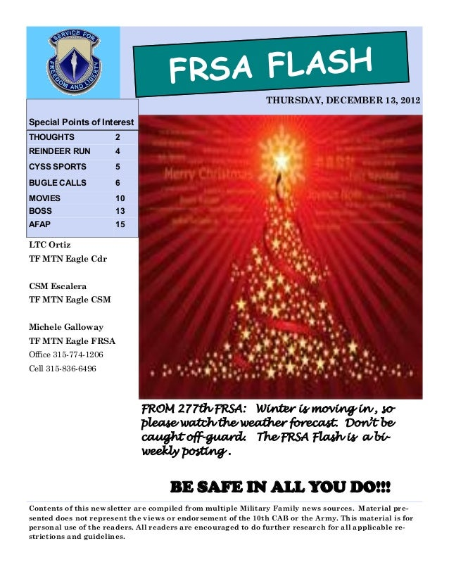 FRSA FLASH                                                              THURSDAY, DECEMBER 13, 2012Special Points of Inter...