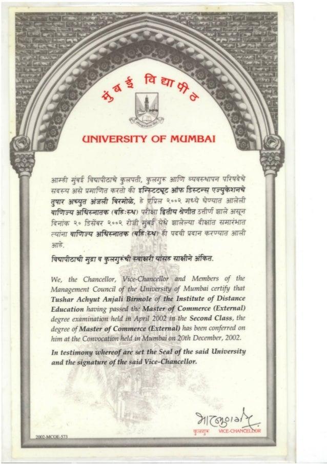 M.Com Certificate