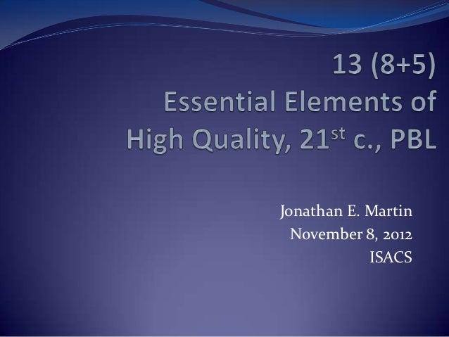 Jonathan E. Martin  November 8, 2012            ISACS
