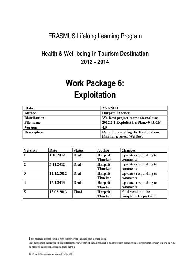 ERASMUS Lifelong Learning Program Health & Well-being in Tourism Destination 2012 - 2014  Work Package 6: Exploitation Dat...