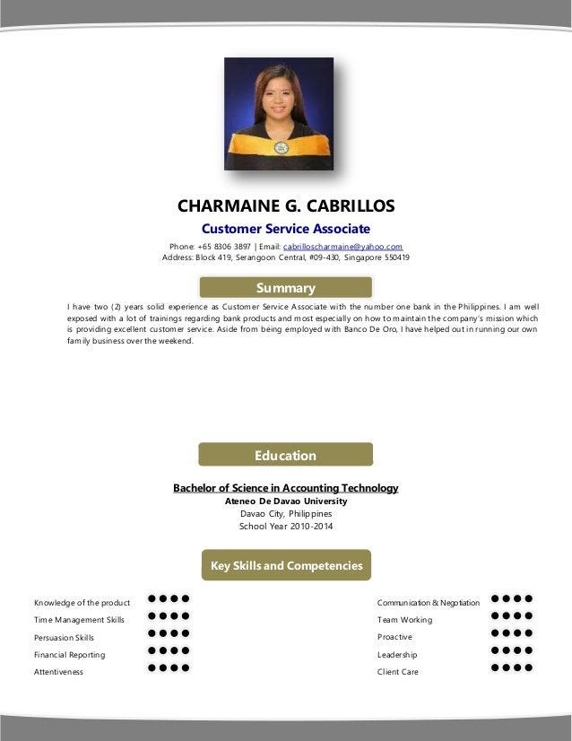 CHARMAINE G. CABRILLOS Customer Service Associate Phone: +65 8306 3897   Email: cabrilloscharmaine@yahoo.com Address: Bloc...