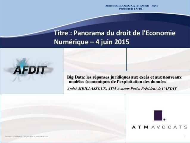 Document confidentiel – Ne pas diffuser sans autorisation André MEILLASSOUX ATM Avocats – Paris Président de l'AFDIT Titre...