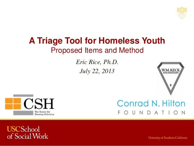 A Triage Tool for Homeless Youth Proposed Items and Method Eric Rice, Ph.D. July 22, 2013