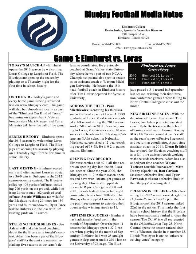 Bluejay Football Media Notes Elmhurst College Kevin Juday, Sports Information Director 190 Prospect Ave. Elmhurst, Illinoi...