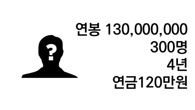 연봉 130,000,000 300명 4년 연금120만원